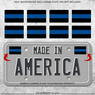 8x Thin blue line mini sticker decals license plate car police officers truck 3M