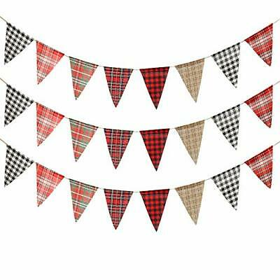 ToBeIT 36pcs Triangle Flags Burlap Pennant Banner Christmas Party Triangle Fl...