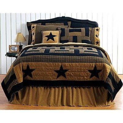 FARMHOUSE COUNTRY PRIMITIVE DELAWARE STAR PATCHWORK QUILTED BEDDING COLLECTION