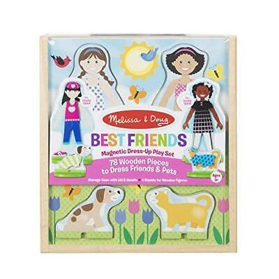 Melissa & Doug Best Friends Magnetic Dress-Up Wooden Dolls Pretend Play Set (78