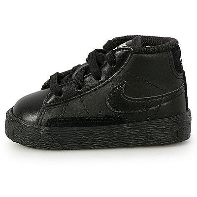 NIKE BLAZER MID ALL BLACK LEATHER CASUAL BABY TODDLER TD SZ 4-10 C  375492-001
