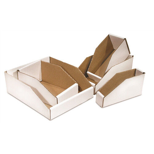 "50 - 4 x 12 x 4 1/2"" Open Top Bin Box - White Corrugated One Piece Construction"
