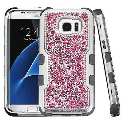 For Samsung Galaxy S7 Edge Hot Pink Black Hard Silicone Hybrid Case Cover