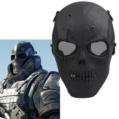 Full-Face Mask Skull Ghost Airsoft Protect Gear Tactical War Game Paintball BLK