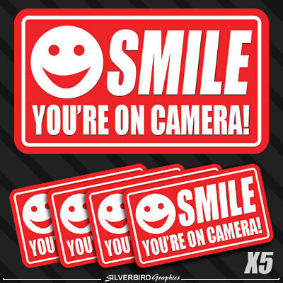 Security Warning Stickers - 5 pack smile you're on camera stickers video security system warning alarm decal