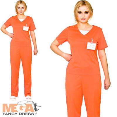 Orange Convict Ladies Fancy Dress Prisoner Uniform Adults Womens Costume Outfit (Womens Orange Convict Costume)