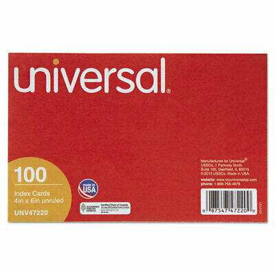 Universal Unruled Index Cards 4 X 6 White 100pack Pk - Unv47220