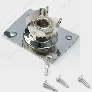 New Chrome Rectangle Output Guitar Jack Plate Socket For Gibson Epiphone
