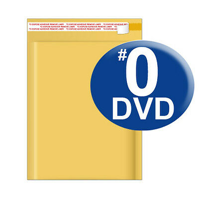 Size 0 6.5x10 Kraft Bubble Mailer Dvd Cd Wide 250 Ct Ships Today