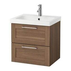 "Ikea 24"" Vanity Walnut with sink."