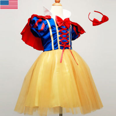 New Kids Girls Snow White Princess Dress Christmas Party Fancy Cosplay Costume (Snow White Party)