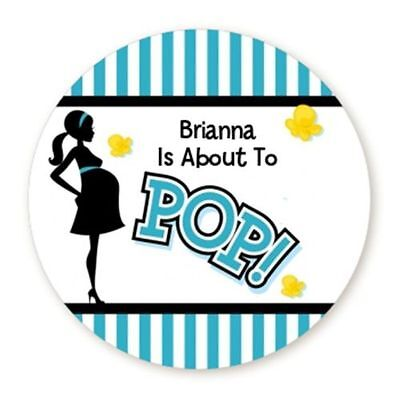 About To Pop Teal - Round Personalized Baby Shower Sticker Labels