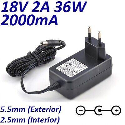 Cargador Corriente 18V 2A 2000mA 5.5mm 2.5mm 36W Cable Alimentacion Adaptador