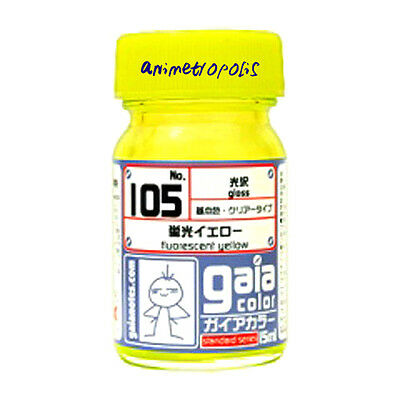 - GAIA COLOR 105 Fluorescent Yellow GUNDAM MODEL KIT LACQUER  PAINT 15ml NEW