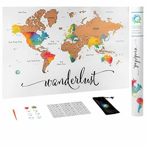 Scratch Off Map of The World | Deluxe Watercolor Wanderlust Edition | XL Size