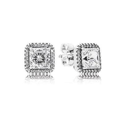 Genuine Authentic Sterling Silver Pandora Stud Earrings 290591Cz