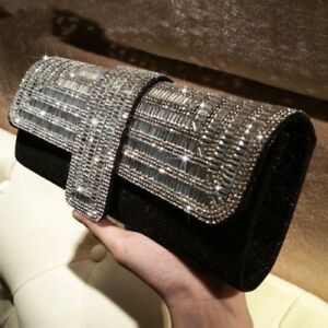 Vintage-Designer-Bridal-Women-Black-Crystal-Glitter-Evening-Clutch-Bag-Handbags