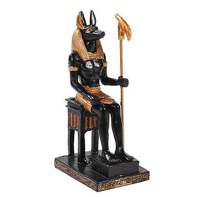 "ANCIENT ANUBIS SMALL 3"" DEITY EGYPTIAN STATUE FIGURINE BLACK GOLD"