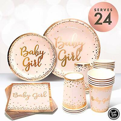 Girl Baby Shower Plates And Napkins (Baby Shower Plates And Napkins Girl For 24 With Rose Gold Pink  Paper)