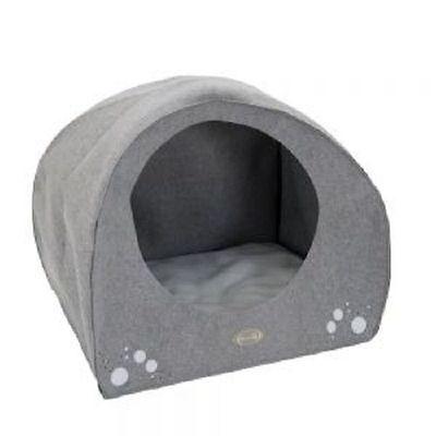 Dog Igloo Bed Cave Medium Size Grey Felt Soft Removable Cushion Comfortable