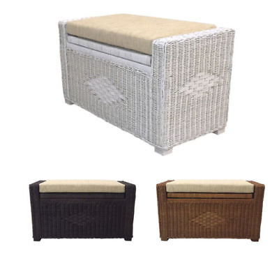Rattan Wicker Chest Trunk Storage Ottoman Adam 18x15x31 With Cushion ()