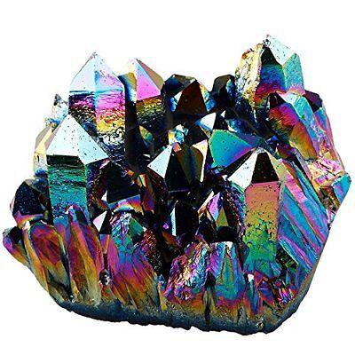 SUNYIK Rainbow Flame Aura Titanium Quartz Crystal Cluster Drusy Geode Gemstone