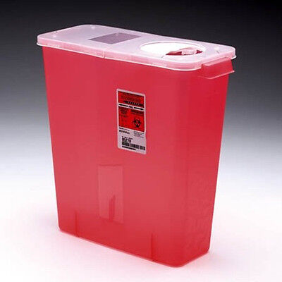 Sharps Disposable Biohazard Container Red Base Hinged Lid 3 Gal 02-8527r