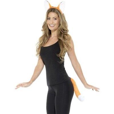 Erwachsene Tier Fox Modisches Kostüm-set Ohren auf Haarreif & Schwanz Set Orange