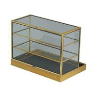 "Portable 3 Shelved Gold Aluminum Display Case 34"" X 22""L X 25""H"