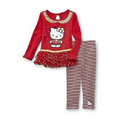 Hello Kitty Toddler Outfit ( Hello Kitty Outfit Tutu Tunic and Leggings Red Toddler Girls Various Sizes)