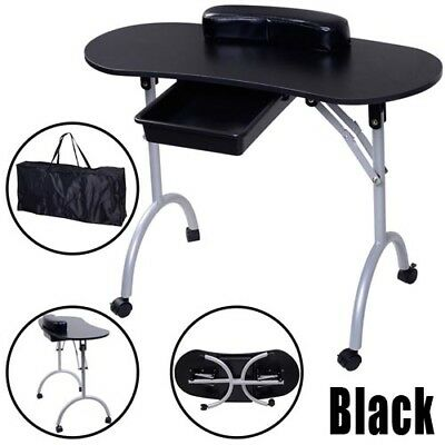 Black Folding Portable Manicure Table Nail Desk Salon Spa Lockable Wheels & Bag