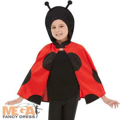 Ladybird Hooded Cape Kids Fancy Dress Lady Bug Boys Girls Book Day Costume Acc  - Boy Bug Costume