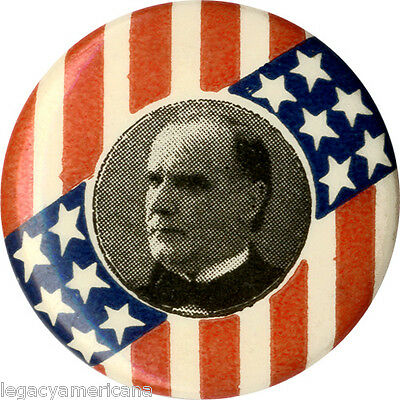 Classic 1896 William McKinley Stars & Stripes Campaign Button (4558)