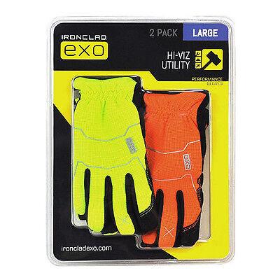 Ironclad EXO Work Gloves Safety Gloves Hi Viz High Visibilty 2Pk Large