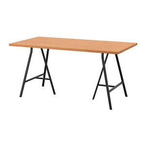2 solid wood trestle tables