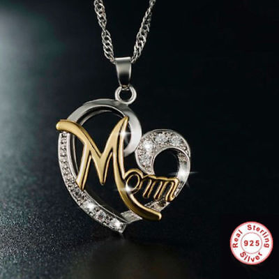 Birthday Holiday Mom Gift 925 Sterling Silver  Gold Heart Mom Pendants Necklace