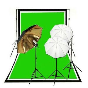 3x Umbrella Lighting Kit, Backdrop Support, Black White Backdrop