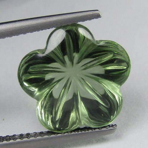 7.20Cts Dazzling Natural Green Amethyst (prasiolite) Flower Carving Cut Ref VDO
