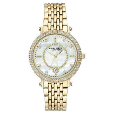 Anne Klein NY 12/2312MPGB Swarovski Crystal Yellow-Gold-Tone Ladies Watch NWT