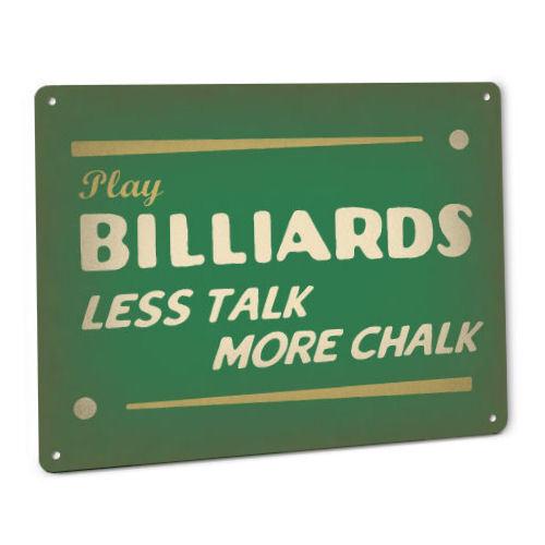 BILLIARDS SIGN Vintage Retro pool hall cue ball chalk shark bar arcade game 28