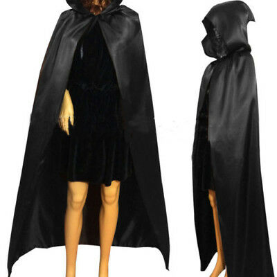 Adult Black Hooded Cloak Cape Long Vampire Halloween Fancy Costume Dress Deluxe - Black Cape Hood