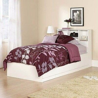 Storage Bed Frame Wood Twin Furniture With Two Drawer Headboard Bedroom - Bookcase Bed Frames
