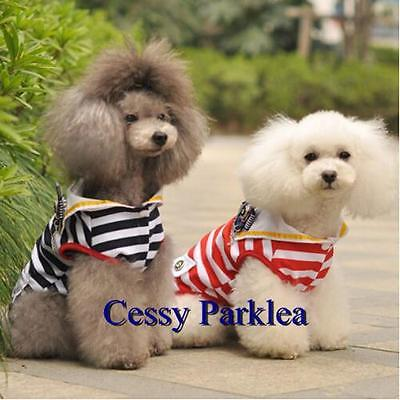 Cute Pet Dog Puppy Cat Stripe Sailor Couple Occupation Costume XS-XXL Red Black - Couple Cat Costumes