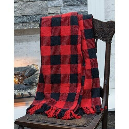 "BUFFALO CHECK THROW BLANKET BLACK RED 52""by74"" Cotton Christ"