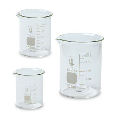 Glass Beaker Set - 3 Sizes - 50 100 And 250ml Karter Scientific 214t2