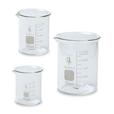 Glass Beaker Set - 3 Sizes - 50, 100 and 250ml, Karter Scientific 214T2