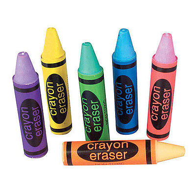 (Set of 12 Crayons  Eraser shapes-kids-party-favors-birthday)