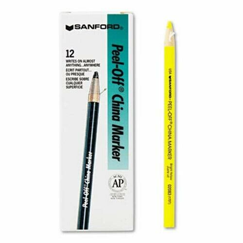Sharpie Peel-Off China Markers, Yellow, Dozen, Each (SAN2083)
