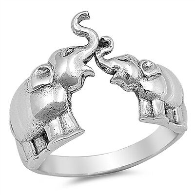 Elephant Design Band (Sterling Silver 925 PRETTY WALKING ELEPHANT DESIGN SILVER BAND RING SIZES)
