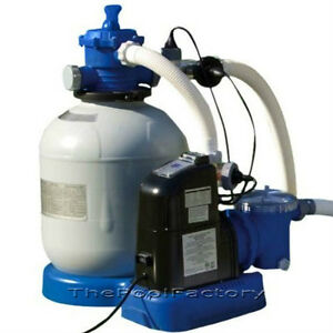 Intex 1600 Sand Filter Pump Salt Water Generator Swimming Pool System 56677eg